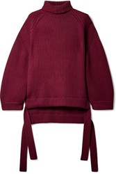 Ellery Wallerian Oversized Tie Detailed Wool Blend Turtleneck Sweater Burgundy