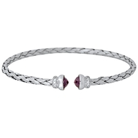 Jools By Jenny Brown Rhodium Plated Silver Rope Bangle Amethyst