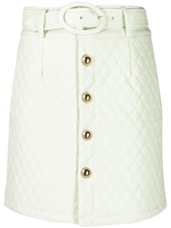 House Of Sunny Quilted Mini Skirt Green