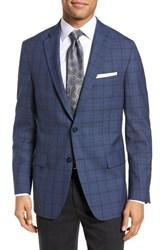 Hart Schaffner Marx Classic Fit Plaid Wool Sport Coat Medium Blue