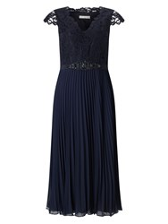 Jacques Vert Pleated Embellished Midi Dress Navy