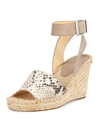 Ivanka Trump Dalinda Snake Print Leather Wedge Sandal