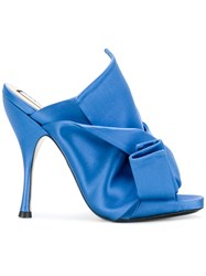 N 21 No21 Open Toe Bow Mules Blue