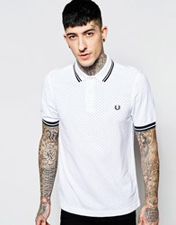 Fred Perry Polo Shirt With Polka Dot Slim Fit White