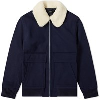 A.P.C. Bronze Wool Flight Jacket Blue