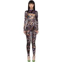 Thierry Mugler Brown And Purple Printed Jumpsuit