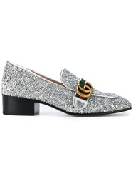 Gucci Gg Web Glitter Loafers Metallic