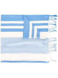 Twin Set Woven Stripe Scarf Blue