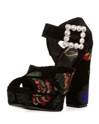 Roger Vivier Anjelica Floral Beaded Velvet 130Mm Sandal Black Multi