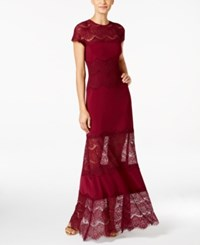 Betsy And Adam Illusion Hem A Line Gown Burgundy