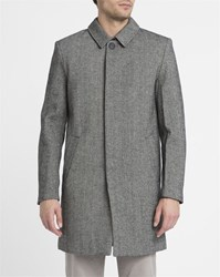 Eleven Paris Grey Chevron Wool Coat