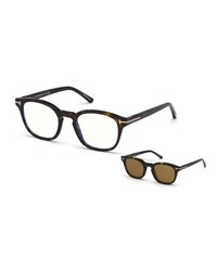 Tom Ford Square Optical Glasses W Magnetic Clip On Blue Block Lenses Brown Pattern