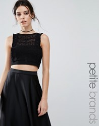 New Look Petite High Neck Lace Crop Top Black