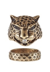 Only Onlleopard 2 Pack Ring Goldcoloured