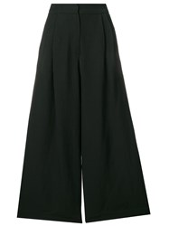 Isa Arfen Cropped Palazzo Trousers Black