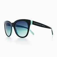 Tiffany And Co. Atlas Classic Sunglasses In Black Blue Acetate. Plastic