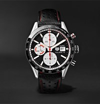 Tag Heuer Carrera Automatic Chronograph 41Mm Steel And Leather Watch Ref. No. Cv201ap.Fc6429 Black