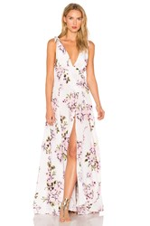 Beach Riot Deep V Floral Gown White