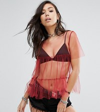 Milk It Vintage Sheer Mesh Layering T Shirt With Peplum Red