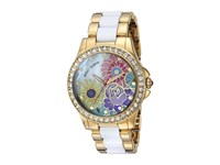 Betsey Johnson Bj00246 15 Floral Print Face Gold White Watches Multi