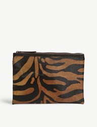 Mystique Animal Print Ponyhair Clutch Bag Tiger