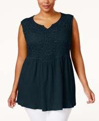 Styleandco. Style And Co. Plus Size Crochet Sleeveless Top Only At Macy's Industrial Blue
