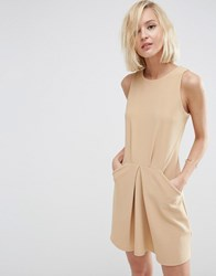 Asos Origami Mini Rib A Line Dress Sand Beige