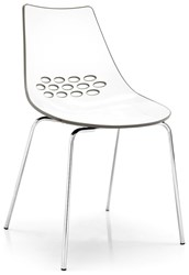 Calligaris Jam Chair P77 Chromed Metal P799 P837 White And Glossy Taupe Plastic