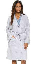 Cosabella Bella French Terry Hotel Robe Heather Gray White