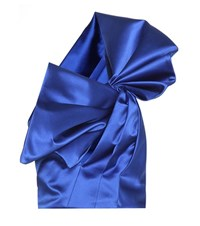 Saint Laurent Silk Satin One Shoulder Blouse Blue