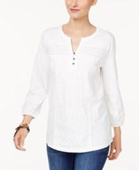 Style And Co Mixed Lace Peasant Blouse Only At Macy's Winter White