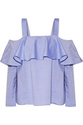 Paul And Joe Off The Shoulder Ruffled Cotton Top Sky Blue