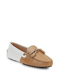 Tod's Leather Slip On Moccasins Tan