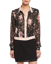 Alice Olivia Amalia Floral Print Long Sleeve Cropped Blouse Multi Colors