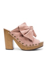 Ulla Johnson Suede Stevie Clogs In Pink