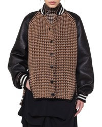 Akris Textured Oversized Bomber Jacket With Leather Sleeves Black Brown Black Brown