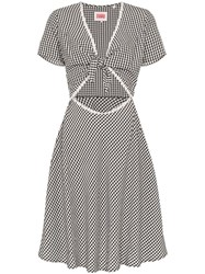 Solid And Striped Gingham Cutout Sundress Black