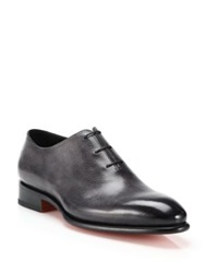 Santoni Carter Pebbled Leather Lace Up Loafers Charcoal
