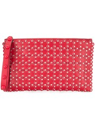Red Valentino Studded Floral Clutch Red
