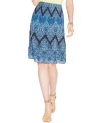 Alfani Pleated Chevron Print Chiffon Skirt Blue Multi