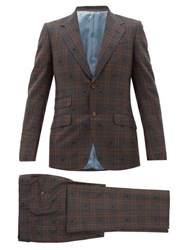 Gucci Jacquard Motif Checked Wool Two Piece Suit Brown Multi