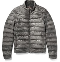 Tod's Tod' Quilted Burnihed Uede Jacket Dark Gray