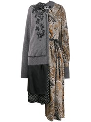Junya Watanabe Contrast Patterned Coat Grey