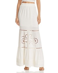 Lost Wander And Embroidered Maxi Skirt Ivory