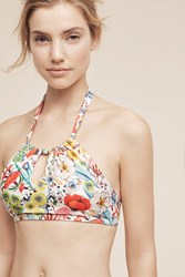 Anthropologie High Neck Halter Swim Top Red Motif