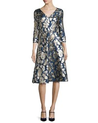 Oscar De La Renta Foil Floral 3 4 Sleeve V Neck Dress Navy Navy Gold