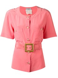 Chanel Vintage Belted Shirt Pink And Purple