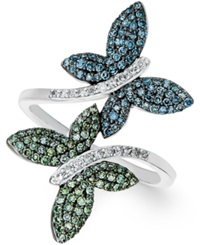 Wrapped In Love Multicolor Diamond Butterfly Ring In 14K White Gold 3 4 Ct. T.W.