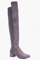 Boohoo Block Heel Thigh High Boot Grey