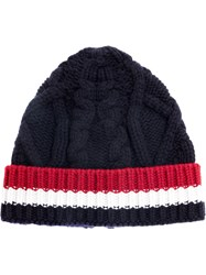 Thom Browne Cable Knit Stripe Panel Beanie Men Wool One Size Blue